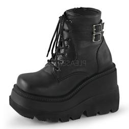 SHAKER-52 COMBAT ARMY GOTH BIKER LACE UP STACKED WEDGE PLATF