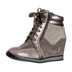 Forever Link Women's Shea-42 Fashion Wedge Sneakers,Grey,8