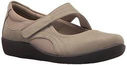 CLARKS Women's Sillian Bella Mary Jane Flat,sand synthetic n