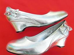 SILVER GIRLS EVENING WEDGE PARTY SHOES GLAMOUR SIZES 9-4