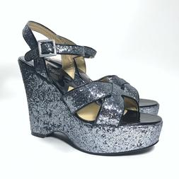 silver glitter sparkle platform wedge sandals shoe