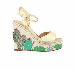 KATE SPADE NEW YORK size 11 DALLAS CACTUS WEDGE SANDALS ankl