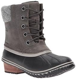 SOREL Women's Slimpack Lace II Snow Boot, Quarry, Black, 6 M
