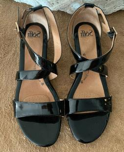 SOFFT Innis WEDGE Sandals - Women Size 11 Patent Leather Bla