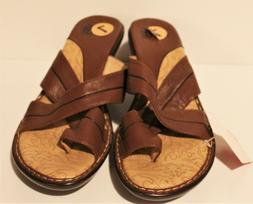 Sofft Women's Wedge Heel Brown Leather Sandals Shoes Slip-On