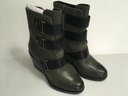 Sorel After Hours Bootie Wedge Boots in Olive size 7