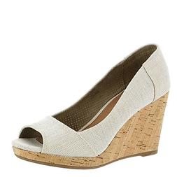 TOMS Womens Stella Peep-Toe Wedges, Natural Yarn-Dye, Size 1