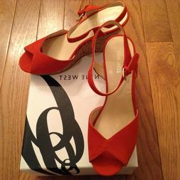 Nine West Suede Wedge Sandals/Shoes Big Easy Red Size 9.5 Br