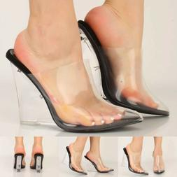 Cape Robbin SUGAR Clear black Foot Bed Lucite Wedge Heel Mul
