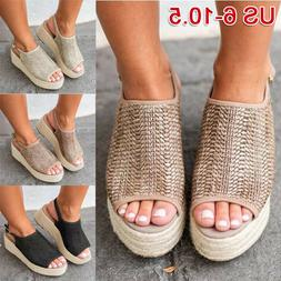 Summer Women Platform Sandals Woven Flats Beach Roman Peep T