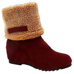 Sunmoot Suede Warm Snow Ankle Bootie Women Winter Chunky Squ