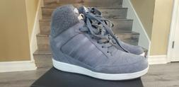 Adidas Supertop Wedge Gray Suede Leather w Pink Stitching an