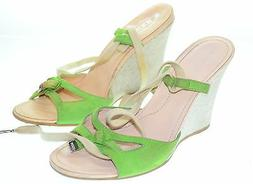 TOD'S Women's Beige Green Suede Leather Wedge High Heels US