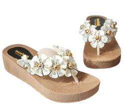TOKYO-T Flower Thong Sandals for Women Low Wedge White Cute