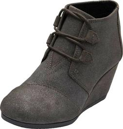 TOMS Kala Desert Wedge Bootie  in Gunmetal Star Suede - NEW