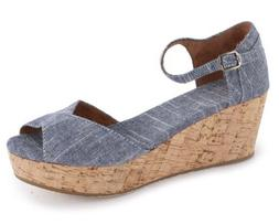 Toms Shoes Platform Wedges Chambray Women's 9.5 US NEW BNIB