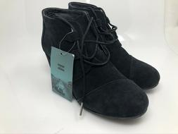 TOMS Women's 10 Kala Booties Wedge Ankle Oxford Boots Black
