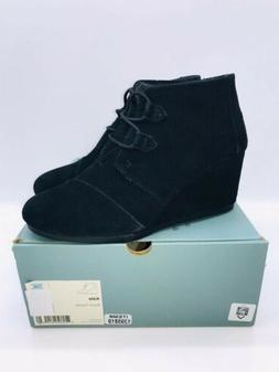 TOMS Women's Kala Booties Wedge Ankle Oxford Boots Black Sue
