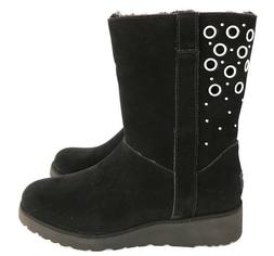Ugg Madison Metal Grommet Details Suede and Wedge Sole Black