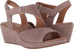 CLARKS Womens Un Plaza Sling Wedge Sandal, Warm Grey Nubuck,