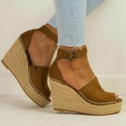 US Women Wedge Espadrille Sandals Ankle Strap Open Toe Shoes