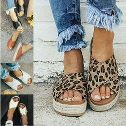 US WOMEN FLAT WEDGE HEEL ESPADRILLES SUMMER GLADIATOR SANDAL
