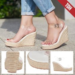 US Womens Sandals Summer Straw Wedges High Heels Casual Ladi