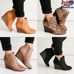 US Womens Wedge Heel Ankle Boots Ladies Casual Zipper Chelse