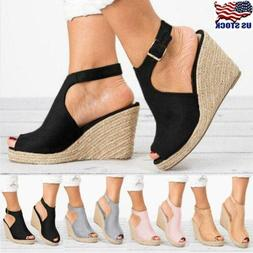 USA Womens Ankle Strap Peep Toe Sandals Summer Platform Wedg
