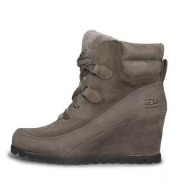 UGG VALORY MOLE WATERPROOF LEATHER SHEEPWOOL WEDGE BOOTS, US
