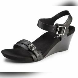 Vionic - Noble  Laurie - Black Leather Orthaheel Wedge Shoes