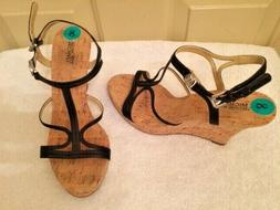 Michael Kors Wedges Heels Sandals Black Leather Straps Cork