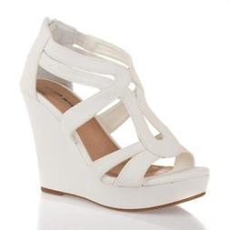 White Strappy Gladiator Wedge Sandal~Open Toe High Heel Wome