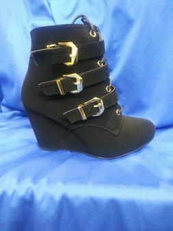 WOMAN'S BLACK SUEDE BUCKLE,LACED UP WEDGES FOREVER PAOLA-92