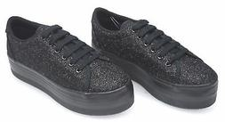 JEFFREY CAMPBELL WOMAN SNEAKER WITH WEDGE SHOES GLITTER CODE