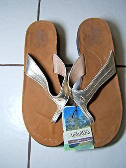 Olukai Womans Gold Thong Sandals Suede Sole Lani Mica Summer