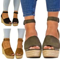 Women Ankle Strap Open Toe Wedge High heels Sandals Espadril