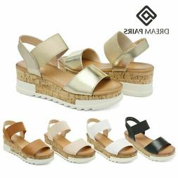 DREAM PAIRS Women's Platform Wedge Sandals Elastic Ankle Str