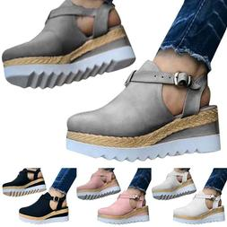 Women Block Shoes Platform Wedge Sandals Ankle Strap Mid Hee