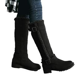 Faionny Women Boots Flat Long Boots Suede Knee High Boots Wi