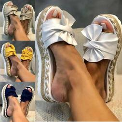 Women Bow Knot Slippers Wedge Platform Espadrilles Slider Mu