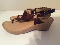 Women Brown Leather Born Wedge Thong Sandals Size 38 US 7 NE