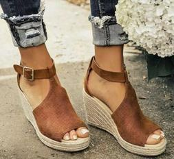Women Chic Espadrille Wedges Adjustable Buckle Sandals 9.5/1