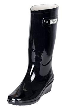 Forever Young Women Cotton Lined Rubber Rain Boots w/Wedge H
