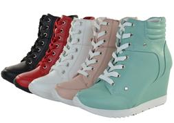 Women Fashion Shoes High Top Ankle Boots Wedge Sneakers Hidd