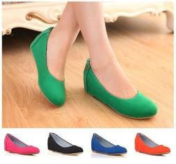 Women Girls Slip On Mid Wedge Heels Pumps Loafers Casual Com
