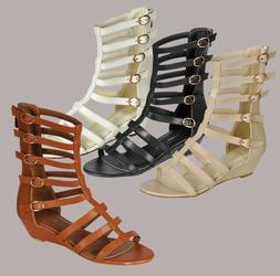 Women Gladiator Buckle Strappy Zipper Wedge Platform Summer
