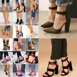 Women High Heels Block Ankle Strap Chunky Sandals Party Dres