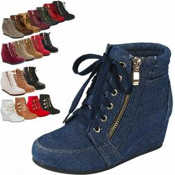 New Women High-Tops Wedge Sneakers Platform Lace Up Tennis S