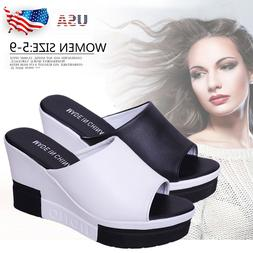 Women High Wedge High Heels Platform Peep Toe Summer Slipper